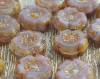 Czech Glass Flower Beads, Czech Picasso Beads, Flower Beads, Czech Flower Beads, Small Flowers, Purple Beads, 8mm Beads, Pack of 6