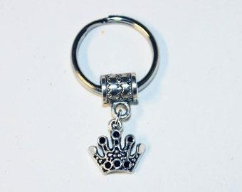 Silver CROWN Key Chain Key Ring Key Holder Key Fob KC-Gen003B/AM