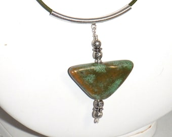 Green Kazuri Fair Trade Ceramic Triangle Pendant with Sterling Silver Necklace