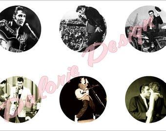 25 mm, Elvis presley, Collage, Planche d'Images Digital - Elvis presley - pour cabochons ronds 25 mm