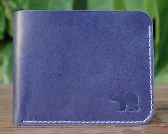 Men's Blue Leather Slim Wallet - Kit