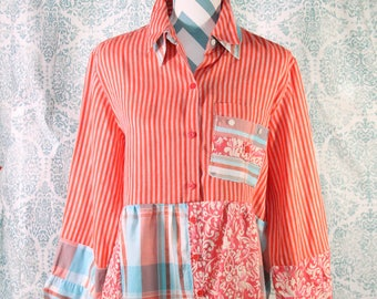 Women's Upcycled Boho Shirt Shabby Chic Romantic Funky Bohemian Junk Gypsy Small Medium EcoFriendly Repurposed Lagenlook