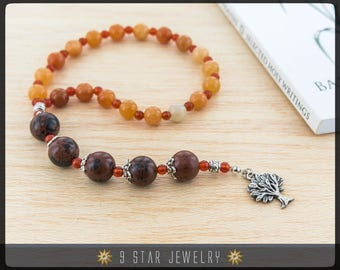 "Red Aventurine & Mahogany Obsidian Baha'i Prayer Beads 5x19 (Alláh-u-Abhá) ""Clarity"" - BPB51"
