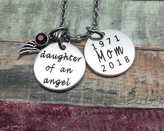 Daughter of an Angel, Engraved memorial necklace, Engraved jewelry, Bereavement jewelry, Memorial Jewelry, Custom Necklace, Loss of Mother