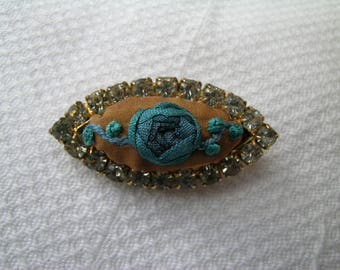 Blue Ribbon Rose Spray: a unique upcycled repurposed hand made hand embroidered diamante set vintage brooch silk