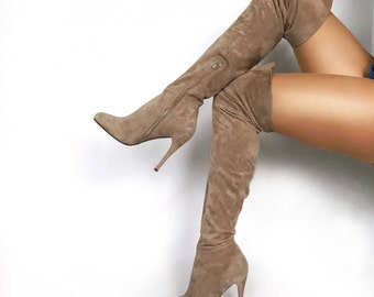 Edza Paris Beige Suede Leather High Heel over the knee boots, thigh high boots, 39 40 41 42  8 9 10 11