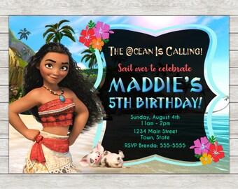 Moana Birthday Invitation, Moana Invitation - Digital File (Printing Services Available)