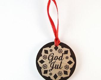 Swedish Snowflake God Jul (Merry Christmas) Laser Burned Wooden Christmas Ornament
