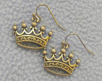 Silver Crown Earrings~ Pierced