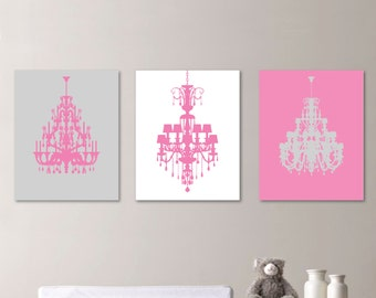Modern Chandelier  Print Trio - Home. Decor. Nursery. Girl - Shown in Light Gray and Pink - You Pick the Size & Colors (NS-139)