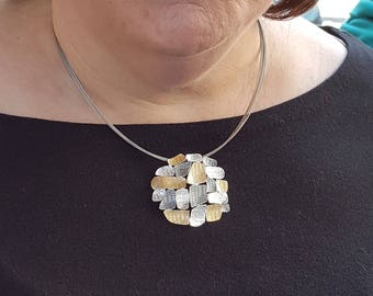 Hypoallergenic necklace.Statement necklace.silver & gold plated.lightweight necklace.Unique pendant.Gift for wife.Valentine gift