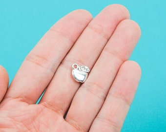 8 APPLE Silver Pewter Charms 11mm chs0054