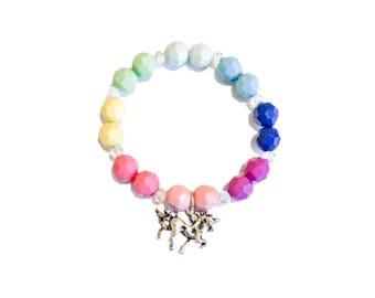 Unicorn Charm Bracelet   Rainbow Beads   Antique Silver   Girls Bracelet   Kids Accessory  