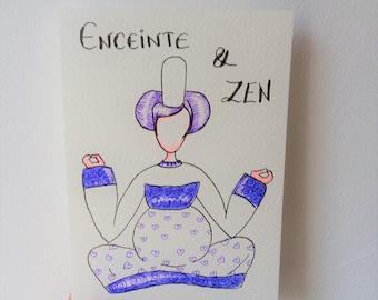 Carte, grossesse, Maman, bébé, carte de grossesse, fête des pères, violet, annonce, zen, naissance, être maman, enceinte, yoga, bretonne