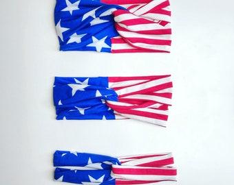 American flag turban headbands