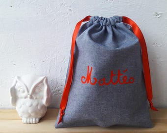 Small cloth bag personalized name - chambray blue-22,5 x 18 cm - wool flower