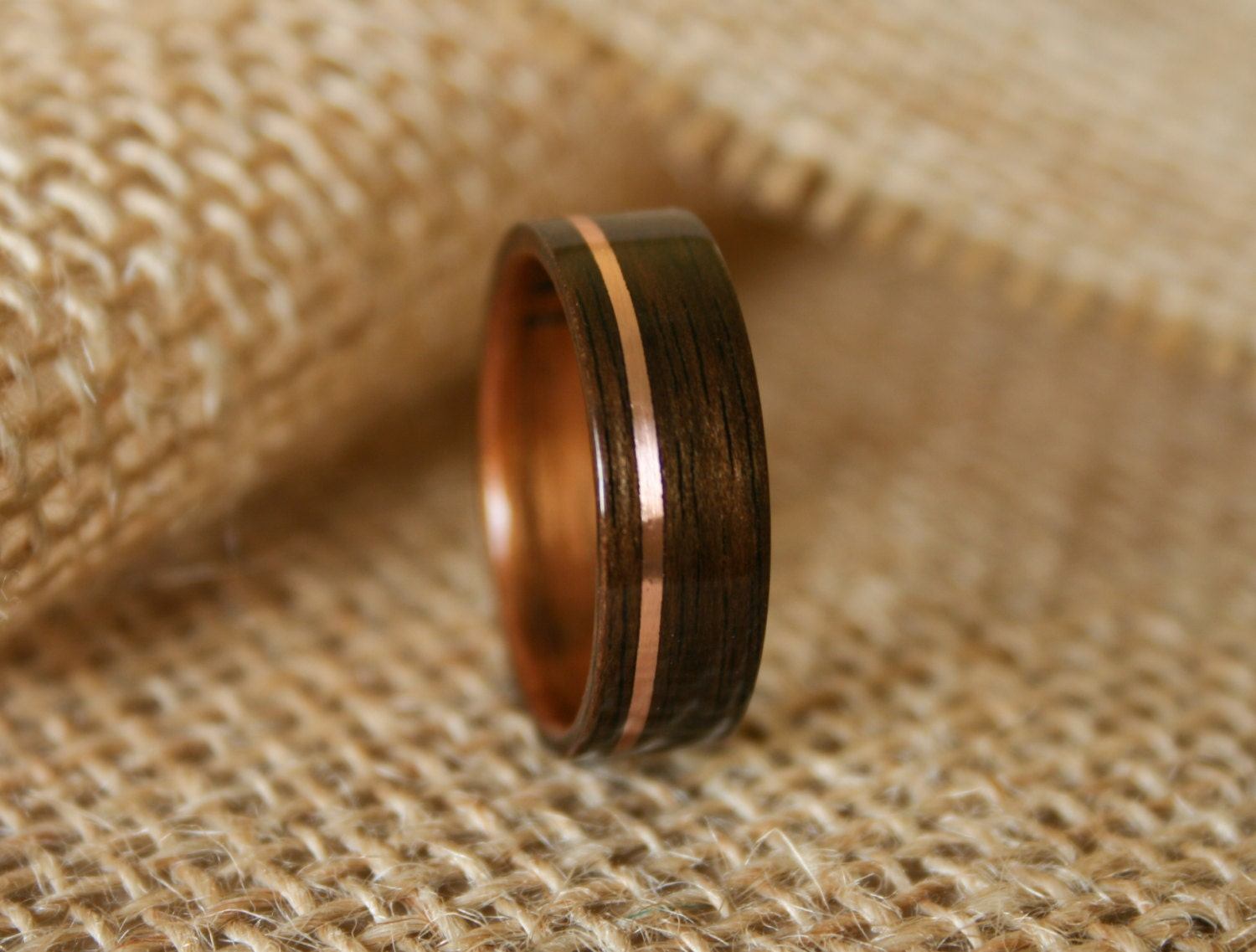Mens Wooden Wedding Band with 14k Rose Gold Inlay in