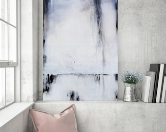 Abstract Painting, Black White Painting, Painting on Canvas, Original Painting, Textured Painting, Heather Day Painting, Rustic Painting