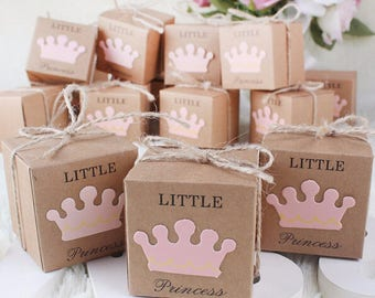 50pcs Girl Baby Shower Favor Box Little Princess Paper Kraft Boxes Pink Candy Box Girl Birthday Bomboniere Favors Box