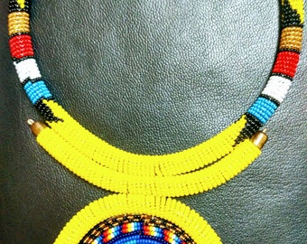 Bright Valentine's day African Bead necklace