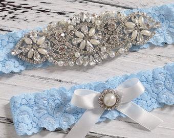 Bridal Garter Set, Wedding Garter Set, Crystal Pearl Bridal Garter Set, Something Blue, Wedding Garter Set Lace