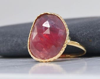 Rose Cut Ruby Ring | 14K Gold | Stackable Gold Ring | Size 7