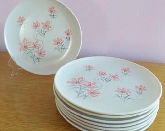 Vintage Pink Flower Melmac Dinner Plates/Set of 8/Watertown Lifetime Ware/Retro Camper Kitchen/ 1960s