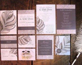 Natural Feather and Lace Wedding Theme - SAMPLE - Feather Wedding - Illustrated Wedding Invitations & Stationery by Alicia's Infinity