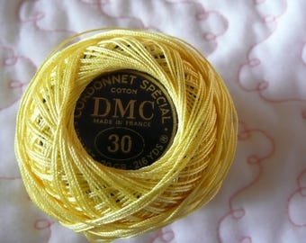 1 spindle coil  DMC Special cord  N. 30 Color YELLOW New but rewind the thread all around !