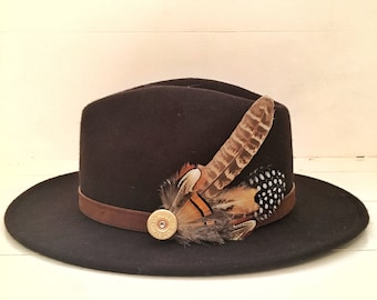 Feather & Cartridge Hat Pin or Brooch -Orange