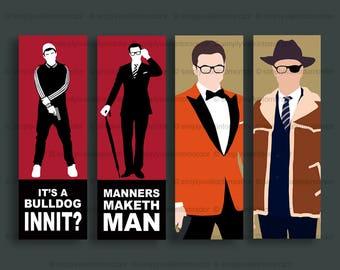 Kingsman Golden Circle bookmark – Harry Hart eye patch – Eggsy orange jacket – Manners Maketh Man – Statesman – choose deisgn