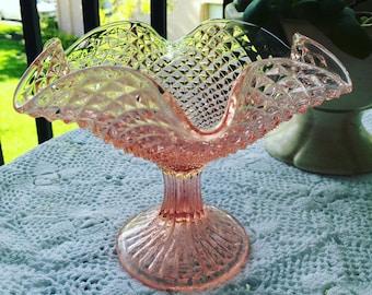 Vintage rose glass pedastal bowl