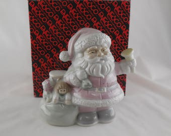 "Enesco Christmas ""Up On The House Top"" Music Box Pink Santa with Toy Bag 1989"