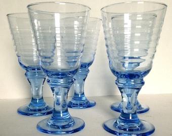 Vintage Blue Water / Wine Glasses - Blue Sirrus Stemware, Blue Stemmed Wine Glasses