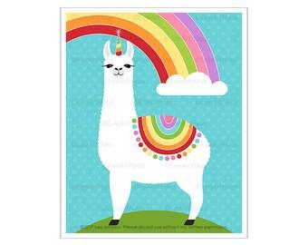65J Rainbow Decor - Llamacorn Rainbow Wall Art - Rainbow Art - Llama Drawing - Art for Children - Farm Animal Print - Cute Llama Unicorn Art