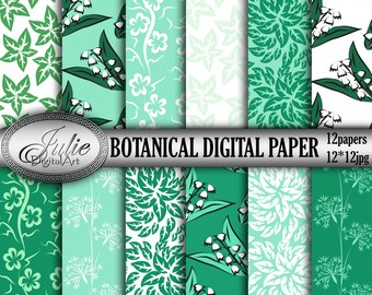 Floral digital paper Green backgrounds Flowers Botanical digital paper Leaves Green digital papers Floral patterns Mint Leaf backgrounds