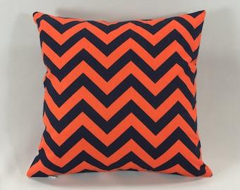 Orange Navy Chevron Throw Pillow Cover -  Chevron Throw Pillow - Orange/Navy Zig Zag Print - Accent Pillow - Hidden Zipper - Premier Prints
