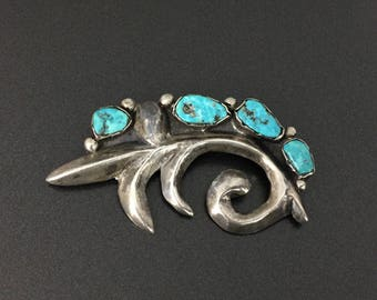 Vintage Southwestern Sterling Silver Turquoise Pin Brooch