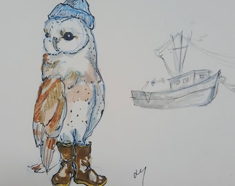 Owl Man And The Sea