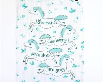 Blue Ponies Tea Towel - Hand made - Tea Towel - You make me happy Aphorism