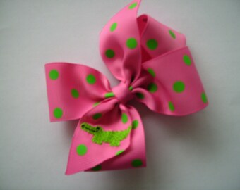 Summer Alligator, Embroidered Hairbow, Custom Boutique, Girls Bows, Polka Dots, Neon Medium, Gator Gifts, Customized, Hair Accessory, Ribbon