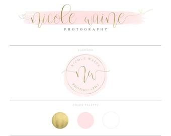 Gold Logo Blush Pink Logo Photography Logo Watermark Watercolor Logo Branding Package Lash Logo Eyelash Logo Realtor Logo Doula Logo Heart