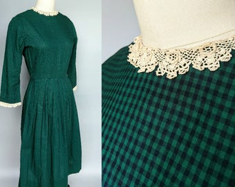 nellie / 1950s green plaid cottton dress with lace trim by teena paige / 2 4 xs
