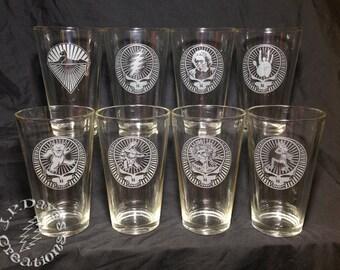 Set of 8 Etched Grateful Dead Sandblasted Pint Glasses, Mix & Match Images, 16oz Beer Glass, Tumbler