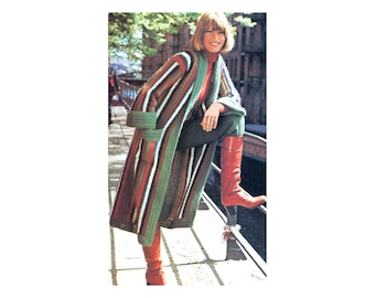 Long Jacket Crochet Pattern - Striped duster with long fold-back sleeves and pockets