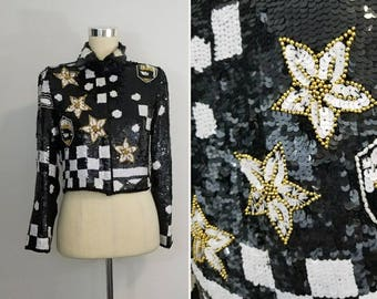 Checkered Sequin and Beaded Jacket/ Black & White / Gold Beads/ Star design