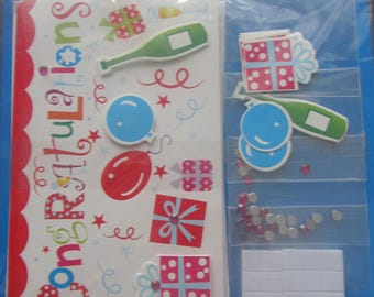 "Pack of 5 cards and 5 invitations ""congratulations, party + Rhinestones, mini cards and stickers"""