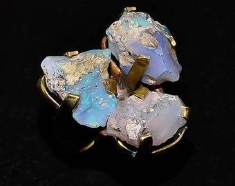 Brass Ring Fire Ethiopian Opal Raw (Adjustable)