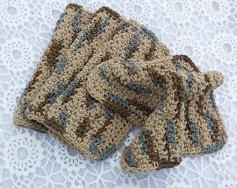 Neutral Earthtone Dishcloths, Brown, Beige, Gray, Wash Rags Dish Rags Face Cloths