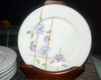 Vintage (c.1985) Denby | Denby-Langley Harmony pattern salad plate.  Purple flowers, trellis, lavender edge. Handcrafted in Portugal.